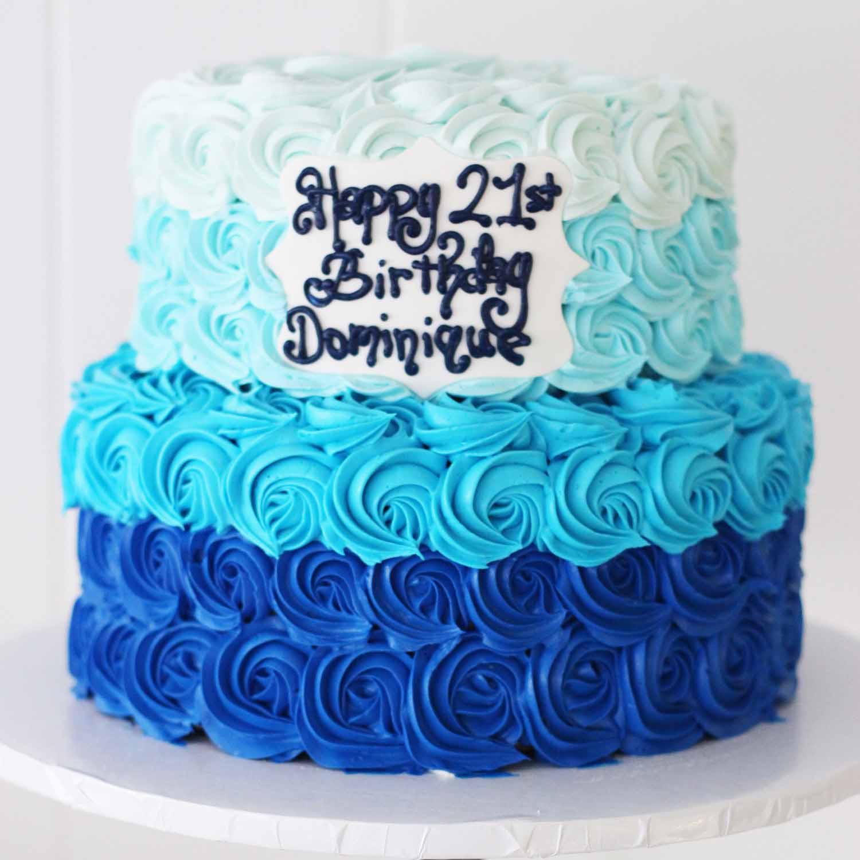 1300 rosette ombre 21st birthday elegant two tier (1)