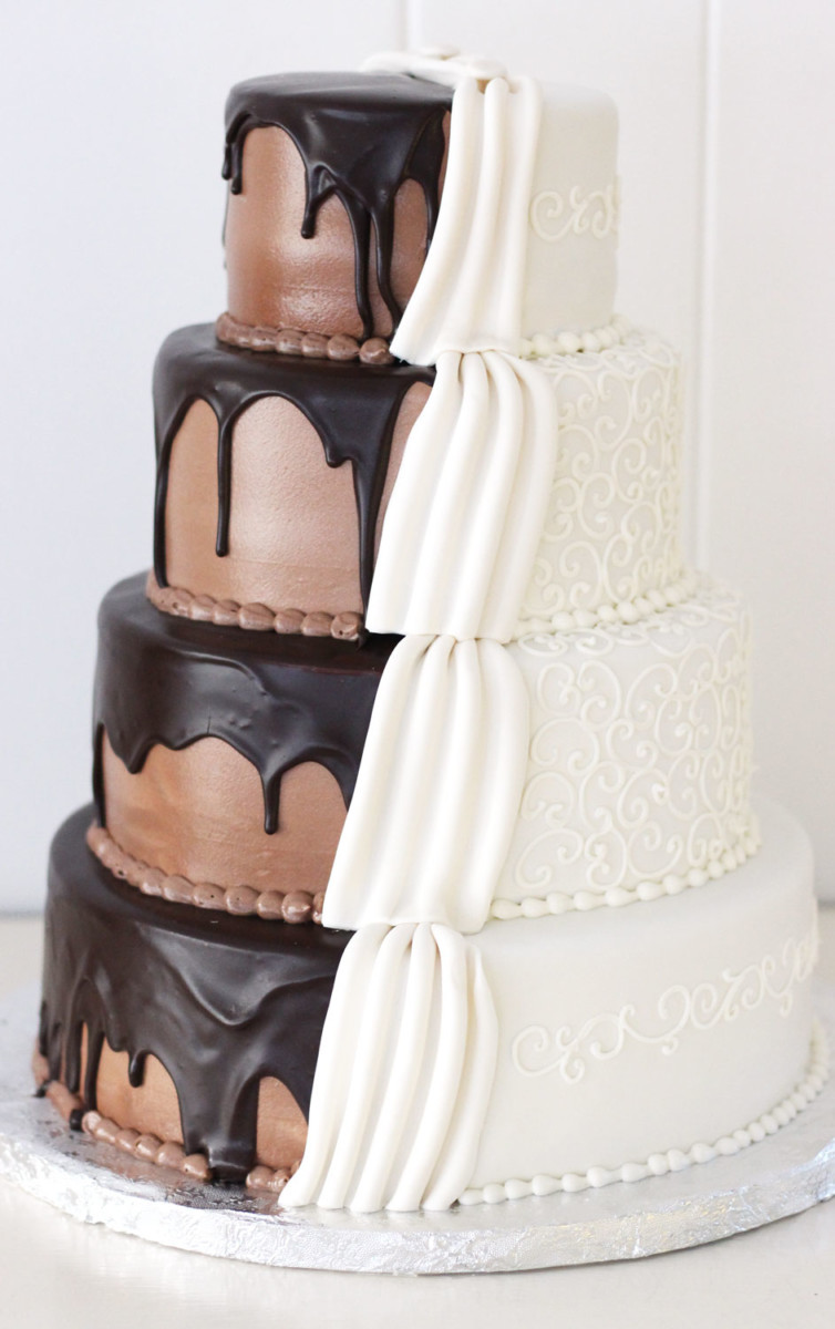 wedding grooms cake with chocolate drizzle and dress details