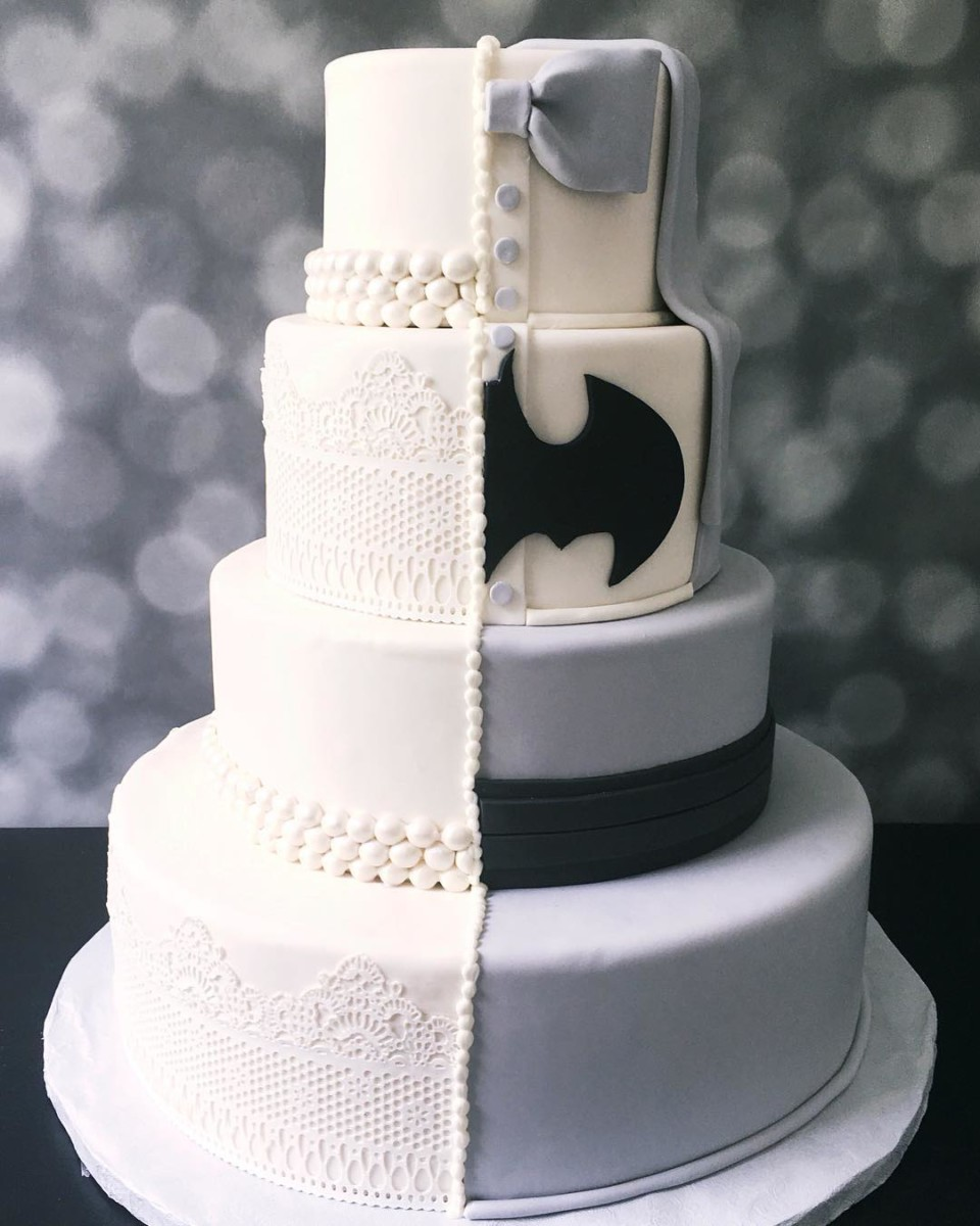 half wedding dress have tuxedo with batman logo wedding cake