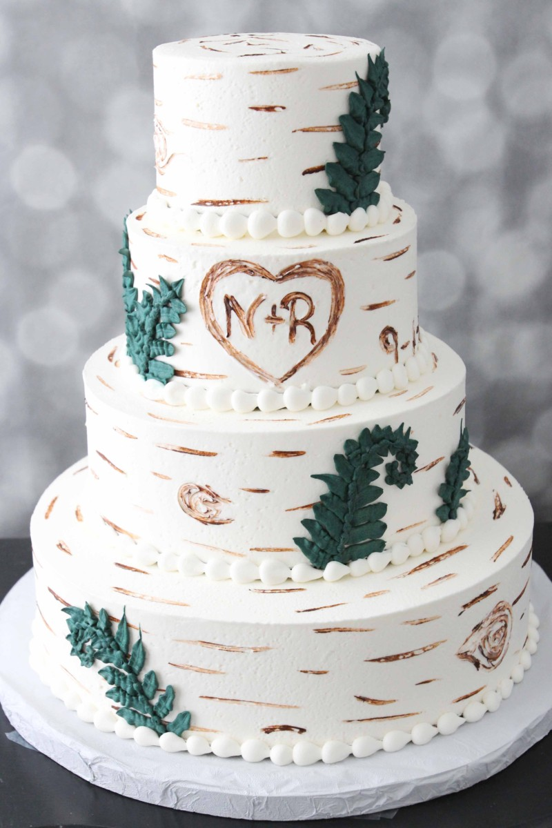 birch tree wedding cake with monogram and fern detail from nj bakery cafe pierrot